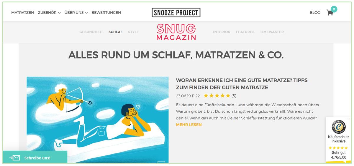 Blog von Snooze Project - Content Marketing Beispiel