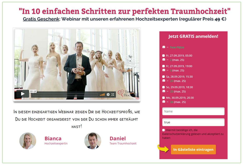 Webinar zur Hochzeitsplanung - Content Beispiel
