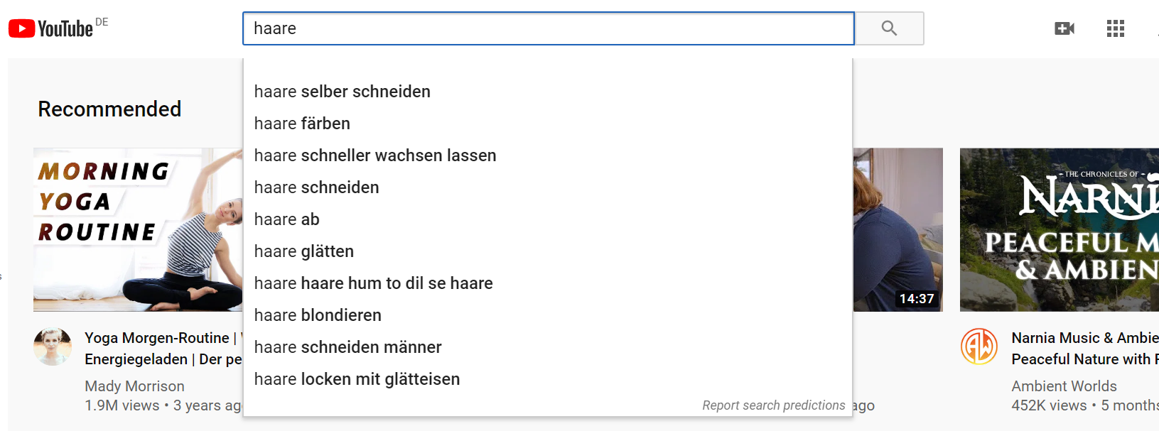 Keyword-Ideen bei YouTube