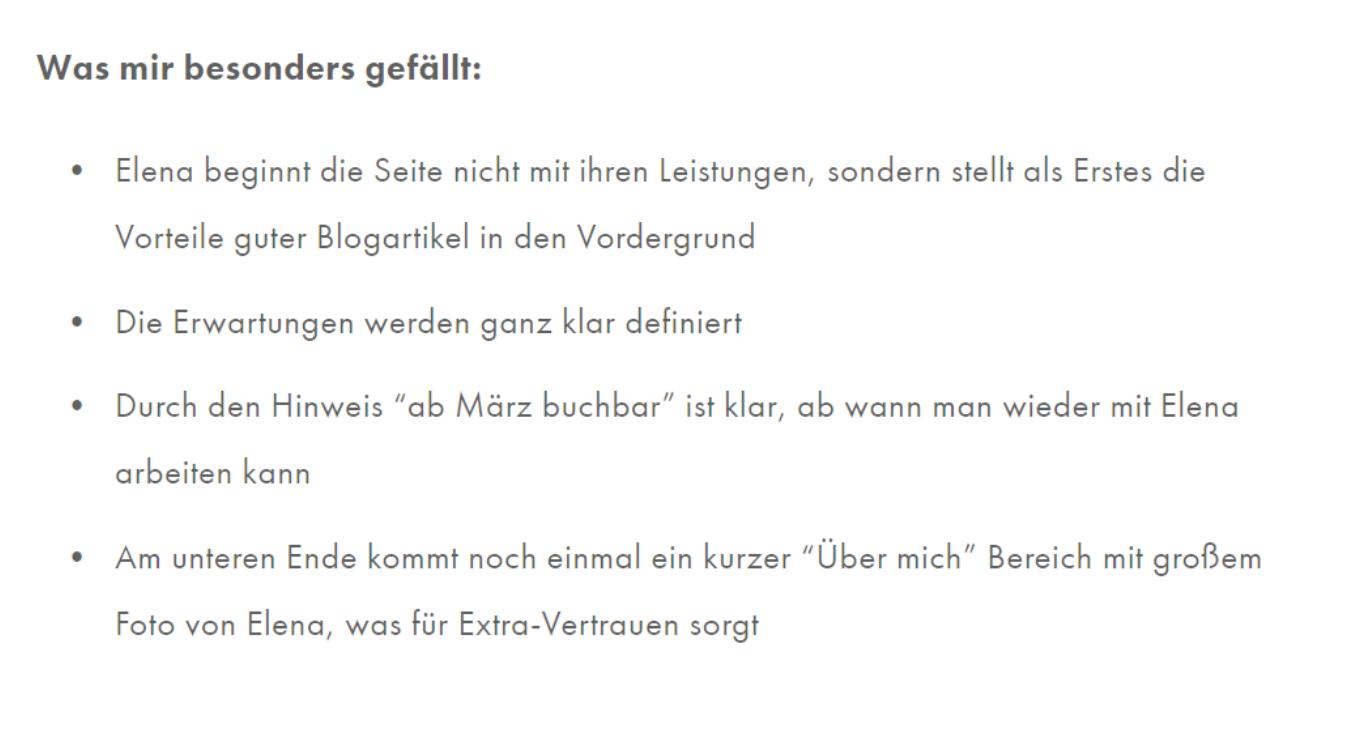 Website-Texte: Referenz zu Preis-Darstellung