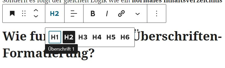 so formatierst du deine Überschrift im Gutenberg Editor: Tag auswählen